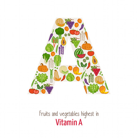 Fruits and vegetables highest in vitamin A composing A letter shape, nutrition and healthy eating concept