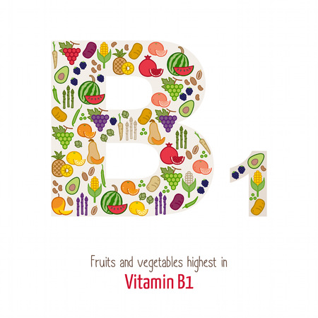b1: Fruits and vegetables highest in vitamin B1 composing B1 letter shape, nutrition and healthy eating concept