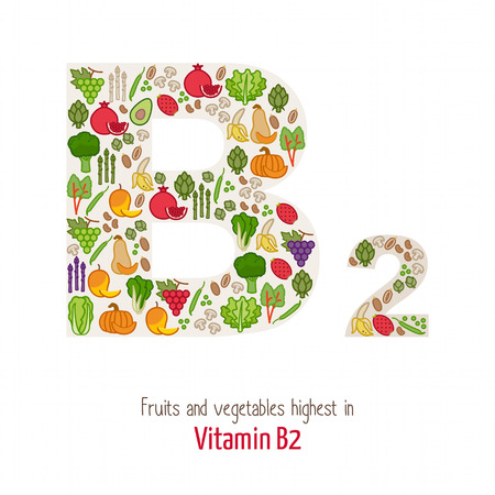 riboflavin: Fruits and vegetables highest in vitamin B2 composing B2 letter shape, nutrition and healthy eating concept Illustration
