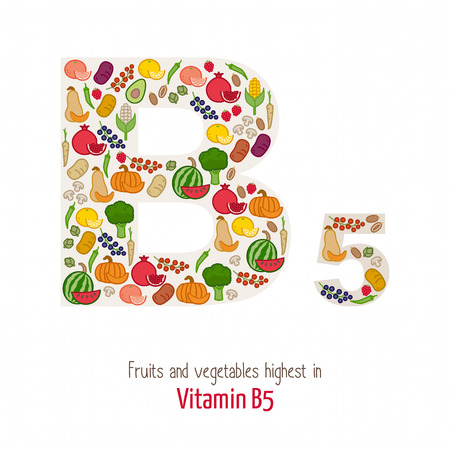 nutrition health: Fruits and vegetables highest in vitamin B5 composing B5 letter shape, nutrition and healthy eating concept