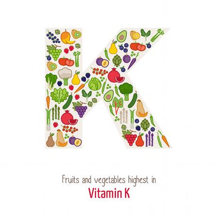 果物や野菜のビタミン k K 文字形状、栄養と健康的な食事の概念を構成する最高  イラスト・ベクター素材