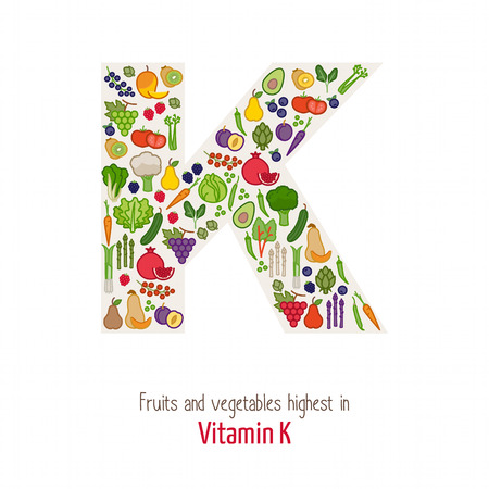 Fruits and vegetables highest in vitamin K composing K letter shape, nutrition and healthy eating concept Illustration