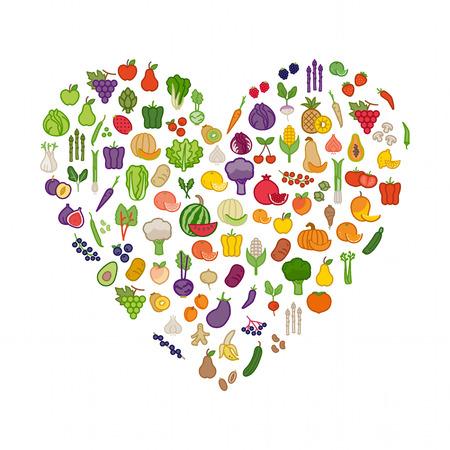 白い背景、健康的な食事と栄養のコンセプトにハート形に野菜や果物