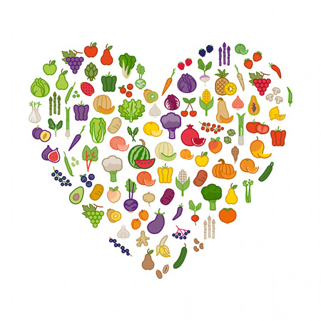 Vegetables and fruits in a heart shape on white background, healthy eating and nutrition concept Ilustracja