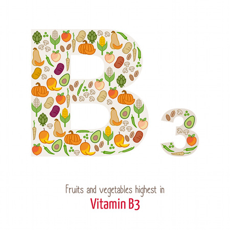 nutrition: Fruits and vegetables highest in vitamin B3 composing B3 letter shape, nutrition and healthy eating concept