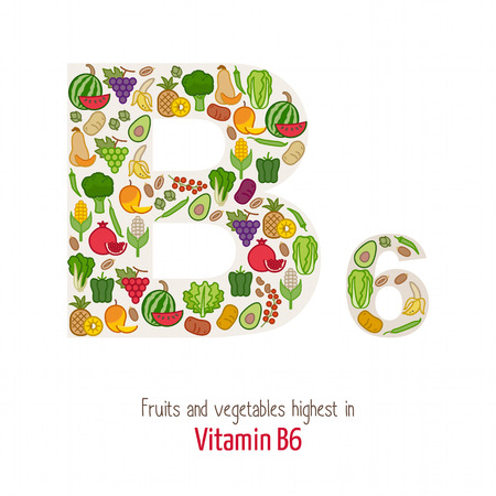 fruits and vegetables: Fruits and vegetables highest in vitamin B6 composing B6 letter shape, nutrition and healthy eating concept