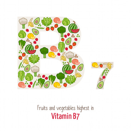 ingredients: Fruits and vegetables highest in vitamin B7 composing B7 letter shape, nutrition and healthy eating concept Illustration