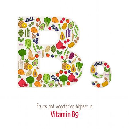 witaminy: Owoce i warzywa w witaminę B9 najwyższe tworzące kształt B9 się, odżywianie i zdrowe jedzenie koncepcja