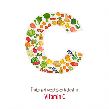 Fruits and vegetables highest in vitamin C composing C letter shape, nutrition and healthy eating concept Vectores