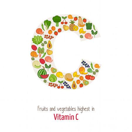 witaminy: Owoce i warzywa najwyższej w witaminę C tworzące kształt litery C, odżywianie i zdrowe jedzenie koncepcja