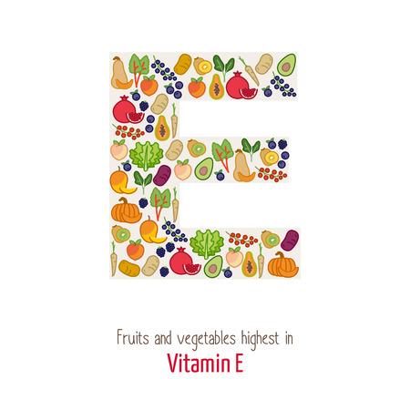 Fruits et légumes les plus élevées en vitamine E composant E en forme de lettre, de la nutrition et le concept d'alimentation saine