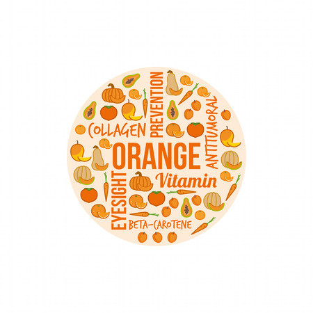 dieting: Orange vegetables and fruits with text concepts in a circular shape, dieting and nutrition concept Illustration