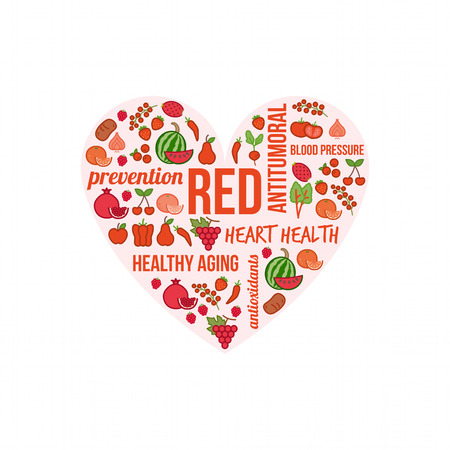 Red vegetables and fruits with text concepts in a circular shape, dieting and nutrition concept