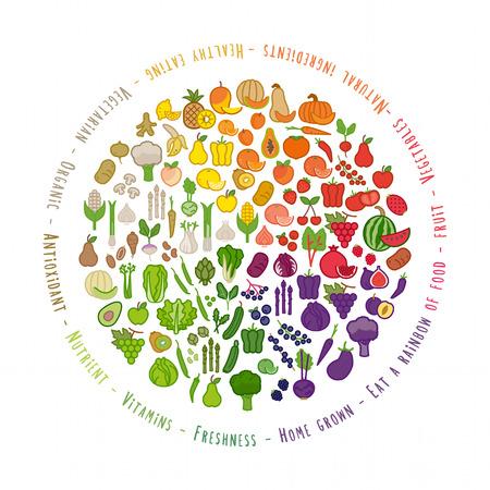 arco iris: Frutas y hortalizas rueda de color con iconos de alimentos, la nutrición y la alimentación saludable concepto