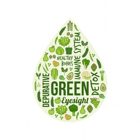 Los vegetales verdes y frutas con los conceptos de texto en forma de gota, la dieta y el concepto de nutrición