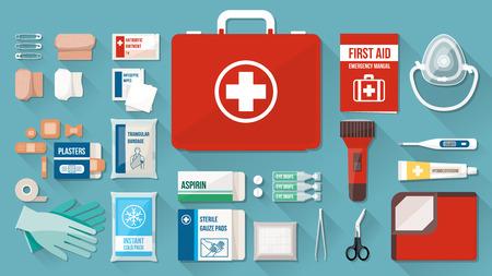 Caja Kit de primeros auxilios con el equipo médico y medicamentos para la emergencia, objetos vista superior