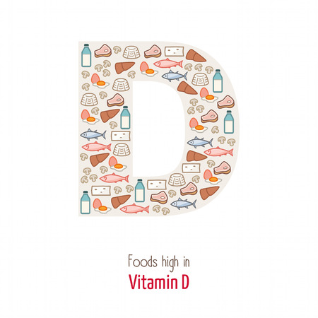 nutrient: Foods highest in vitamin D composing D letter shape, nutrition and healthy eating concept Illustration