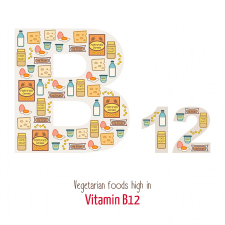 fortified: Vegetarian foods highest in vitamin B12 composing B12 letter shape, nutrition and healthy eating concept