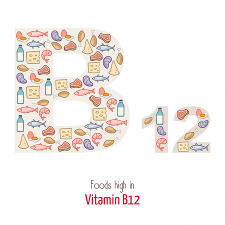 group b: Foods highest in vitamin B12 composing B12 letter shape, nutrition and healthy eating concept