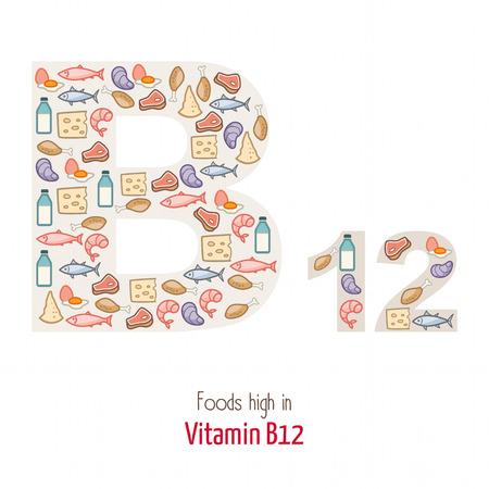 Los alimentos altos en vitamina B12 que componen la forma carta B12, la nutrición y el concepto de alimentación saludable
