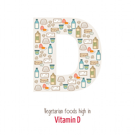composing: Vgetarian foods highest in vitamin D composing D letter shape, nutrition and healthy eating concept Illustration
