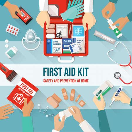atmung: Erste-Hilfe-Kit mit Medikamenten und Notfallausrüstung und medizinische Team die Hände