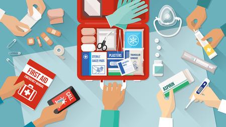 primeros auxilios: Botiquín de primeros auxilios con medicamentos y equipo de emergencia y equipo de manos médicas Vectores