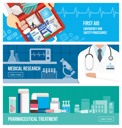 Medical banner set on emergency, first aid, scientific research and pharmaceutical treatment