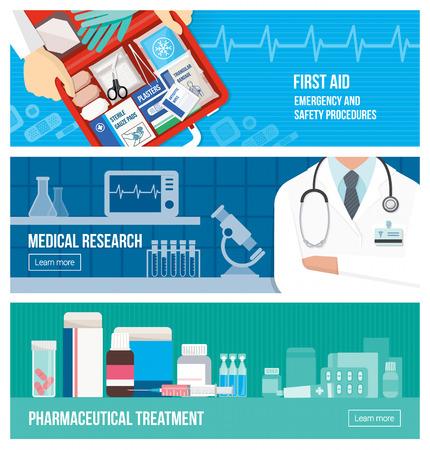 équipement: Bannière médical mis sur l'urgence, les premiers soins, la recherche scientifique et le traitement pharmaceutique Illustration