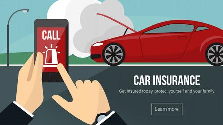 車保険バナー背景に携帯電話と車の事故を使用して緊急サービスを呼び出すの男と