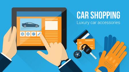 Accesorios para el coche compras bandera, el hombre en busca de neumáticos en un sitio web utilizando una tableta con las llaves del coche, conducción guantes y tarjetas de crédito