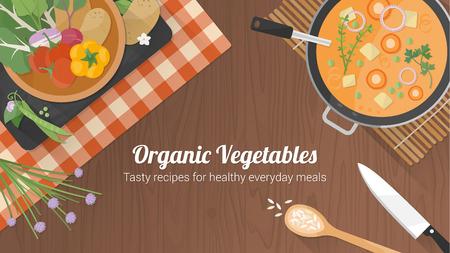 ustensiles de cuisine: Végétarien recettes saines bannière avec des légumes sur un bol, une casserole avec de la soupe et ustensiles de cuisine sur une surface en bois