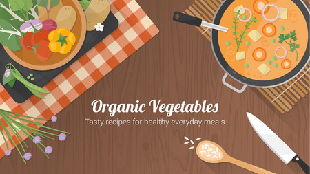 Vegetarische gezonde recepten banner met groenten op een kom, een pan met soep en keukengerei op een houten ondergrond Stock Illustratie