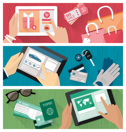 woman credit card: Online shopping banners set with male and female hands on a desktop browsing websites on a digital tablet Illustration