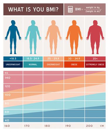 tratamientos corporales: índice de masa corporal Vectores