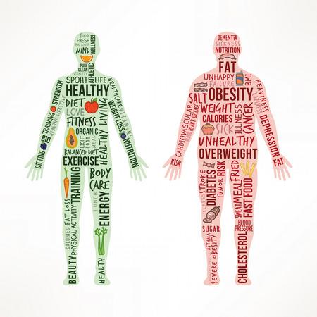 健康的な生活、不健康なライフ スタイルの比較、肥満の病気体、本文概念および食品のアイコンの横に立って健康フィットのボディ
