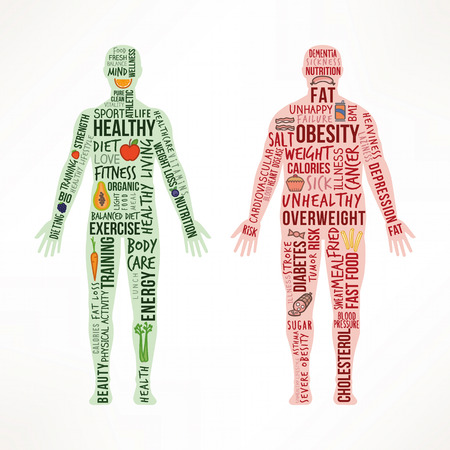 Una vida saludable y la comparación del estilo de vida poco saludable, cuerpo en forma saludable de pie junto a un cuerpo enfermo obeso, conceptos de texto e iconos de alimentos