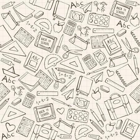 Terug naar school naadloze patroon met de hand getekende schoolbenodigdheden, boeken en schrijfwaren Stock Illustratie