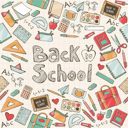 学校に戻って学校でのシームレスなパターンを提供し、書かれたテキストを手  イラスト・ベクター素材