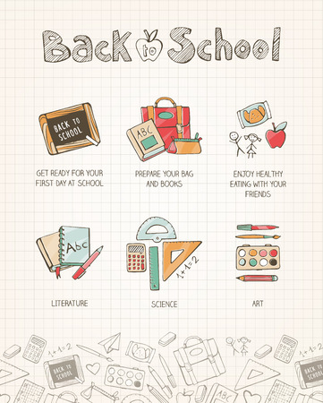 shool: Back to school vector illustration on notebook paper, hand drawn shool supplies, books, stationery