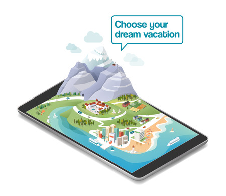 beach panorama: Choose your dream vacation, landscape on a tousch screen tablet device