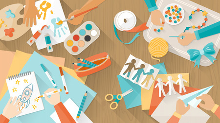 Happy creative kids playing, painting, cutting paper, sketching, hands top view, education and enjoyment concept Stock Illustratie