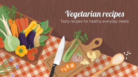 건강 음식과 맛있는 요리법 야채 국 상자, 칼과 도마 배너 및 체크 식탁보 일러스트