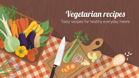 Healthy eating and tasty recipes banner with vegetables ina box, a chopping board with knife and checked tablecloth