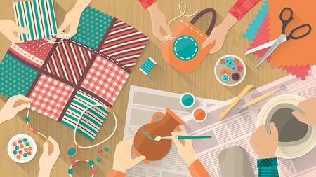 Hobby y artesanías de la bandera, las personas que trabajan en diferentes proyectos, cerámica, pintura, costura, acolchado y joyas, manos vista superior
