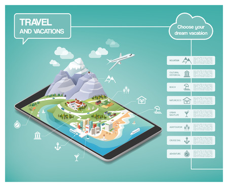 entertainment: Dream vacations infographics, travel destinations typens on a tridimensional landscape including mountains, seaside, cities and nature, icons set