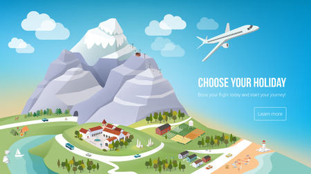 vacation: Vacations and travel banner with natural landscape, cities, ocean and mountains, worldwide travelling concept