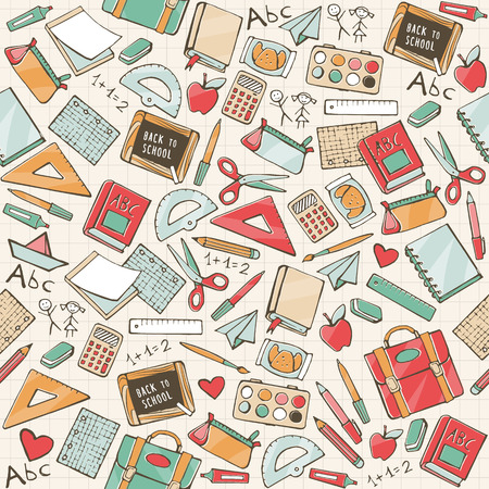 Back to school seamless pattern with hand drawn school supplies, books and stationery Ilustração