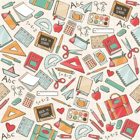 Volver a la escuela sin patrón, con dibujados a mano útiles escolares, libros y papelería Vectores