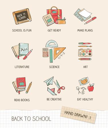 utiles escolares: Volver a la escuela de ilustración vectorial en el papel de bloc de notas, artículos escolares, dibujados a mano, libros, artículos de papelería